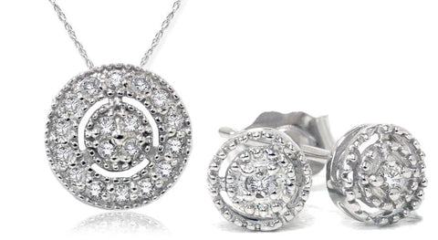 1/4ct Diamond Matching Pendant & Earring Vintage Style Set 10K White Gold