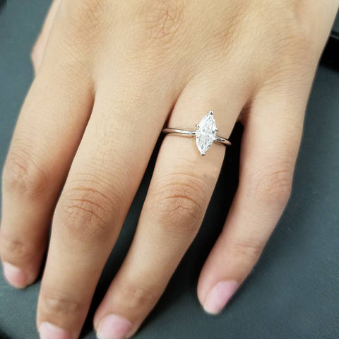 1ct Solitaire Marquise Enhanced Diamond Engagement Ring 14K White Gold