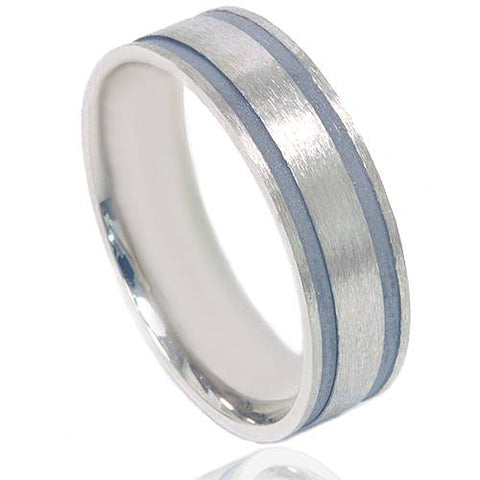 Double Inlay Brushed Wedding Band 14K White Gold