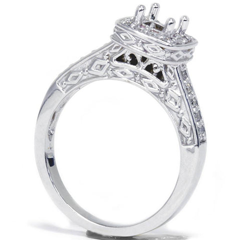 1/4ct Vintage Semi Mount Engagement Ring 14K White Gold