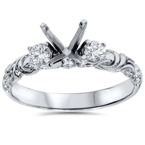 1/4ct Vintage Style Engagement Ring Setting 14K White Gold