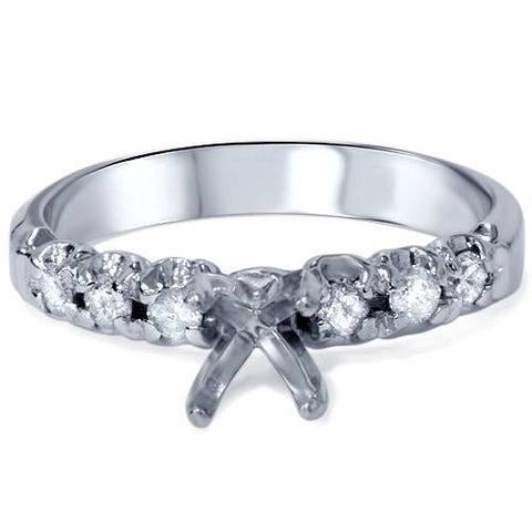 1/3ct Diamond Semi Mount Engagement Ring Setting 14K White Gold Mounting SZ 6.5