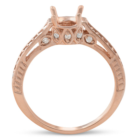 1/5ct Diamond 14k Rose Gold Engagement Ring Setting Vintage Antique Art Deco