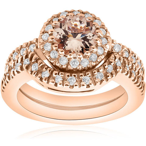 1 ct Morganite & Diamond Halo Engagement Ring Wedding Set 14K Rose Gold