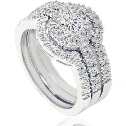 1 1/10ct Round Solitaire Diamond Engagement Matching Wedding Ring Set White Gold