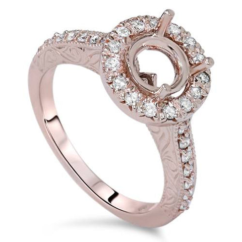 1/3ct Vintage Halo Diamond Engagment Ring Setting 14K Rose Gold