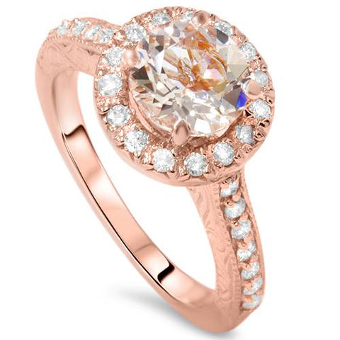 1 1/3 ct Vintage Morganite & Diamond Halo Engagement Ring 14K Rose Gold