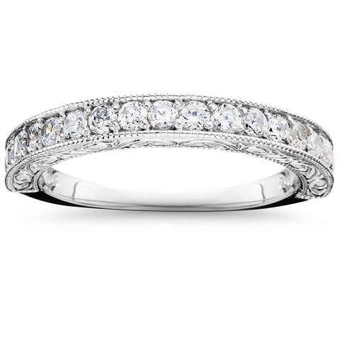 1/2ct Vintage Diamond Wedding Ring 14K White Gold