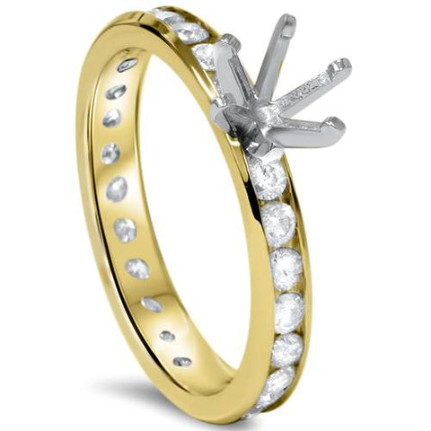 1 1/2ct Diamond Eternity Engagement Setting 14K Yellow Gold