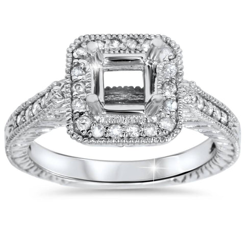 1/3ct Vintage Princess Cut Engagement Ring Setting 14K White Gold