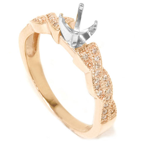 1/5ct Pave Diamond Heirloom Ring Setting 14K Rose Gold