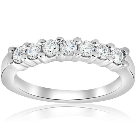 1/2ct Diamond Wedding Ring 14K White Gold Womens Stackable Band