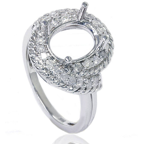 3/8ct Vintage Braided Oval Ring Setting 14K White Gold