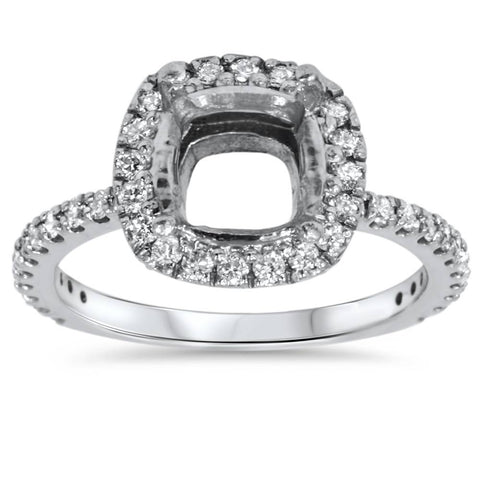 1/2ct Cushion Halo Diamond Ring Setting 14K White Gold