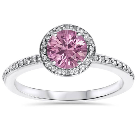 3/4ct Simulated Pink Sapphire & Genuine Diamond Halo Ring 14K White Gold