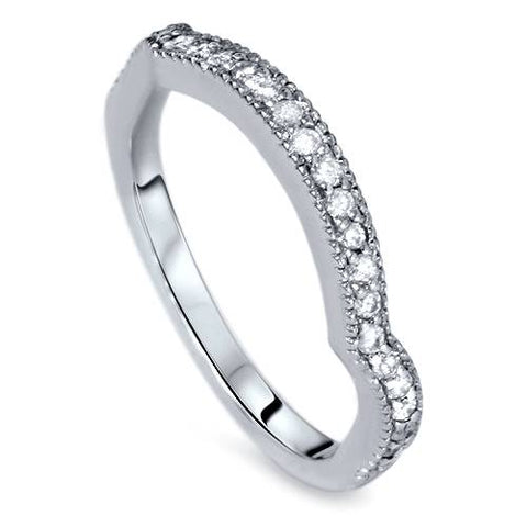 1/4ct Curved Diamond Wedding Ring 14K White Gold
