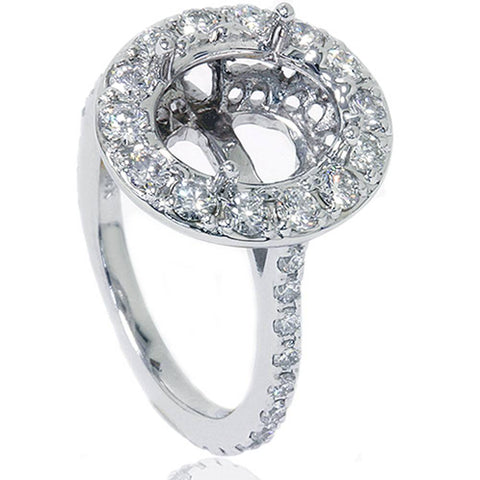 1CT Pave Halo Oval Diamond Engagement Ring Setting 14K White Gold