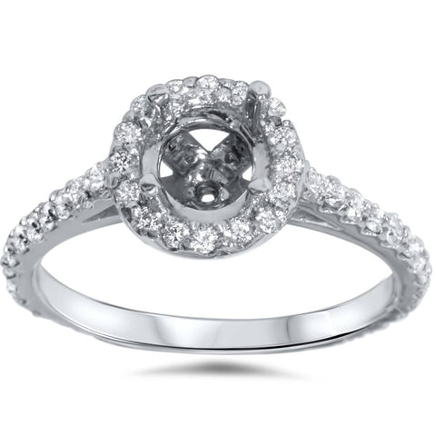 1/2ct 14K White Gold Diamond Engagement Semi Mount Ring