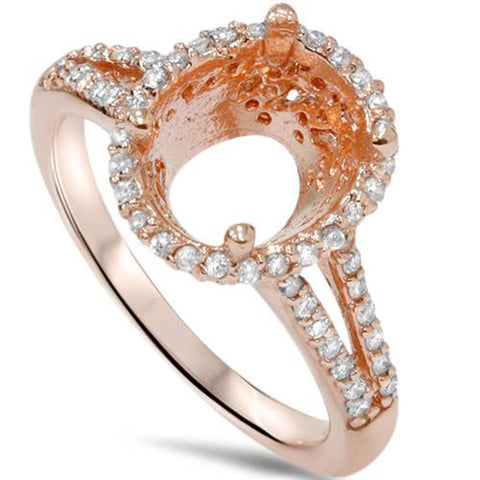 1/2ct Rose Gold Split Shank Halo Diamond Ring Setting 14K