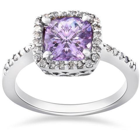 2ct Amethyst & Diamond Halo Antqiue Filigree Anniversary 14K White Gold Ring