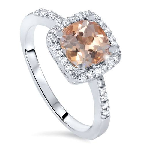 1 1/2ct Morganite Cushion Halo Diamond Engagement Ring 14K White Gold