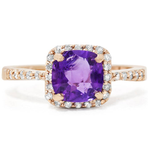 1 1/2ct Cushion Amethyst Diamond Ring 14K Rose Gold