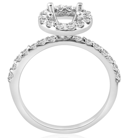 1/2ct Diamond Halo Engagement Ring Setting 14K White Gold Semi Mount Jewelry