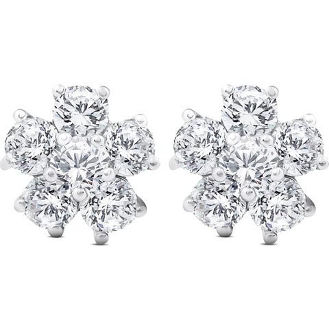 2 3/4 Ct Diamond Star Burst Studs Womens Earrings 14k White Gold