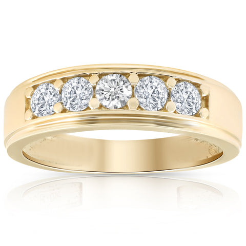 1 Ct Diamond Ring Mens High Polished Solid Yellow Gold Wedding Anniversary Band