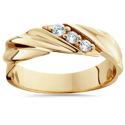 1/10ct Diamond 14K Yellow Gold Mens Wedding Ring