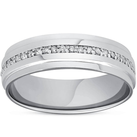 Mens Diamond 3/8ct Eternity Ring Wedding Band 14k White Gold High Polished 7MM