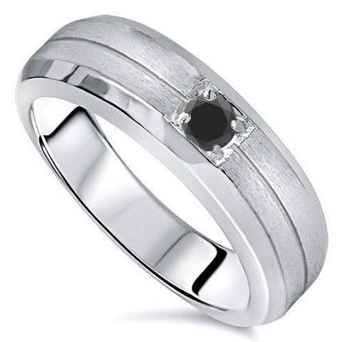 1/4ct Mens Treated  Black Diamond Solitaire Ring 14K White Gold