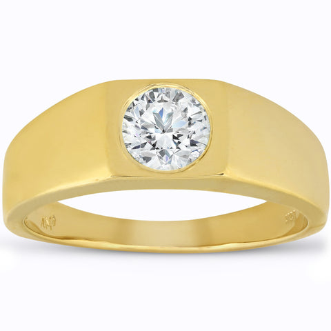 1 ct Solitaire Yellow Gold Diamond Mens Ring Polished Wedding Band  Enhanced 14k