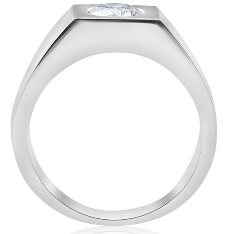 1 ct Solitaire Diamond Mens Wedding Ring 14k White or Yellow Gold Enhanced