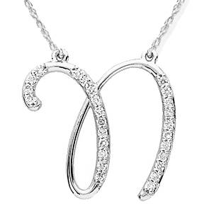 "Diamond ""N"" Initial Pendant 18"" Necklace 14K White Gold"