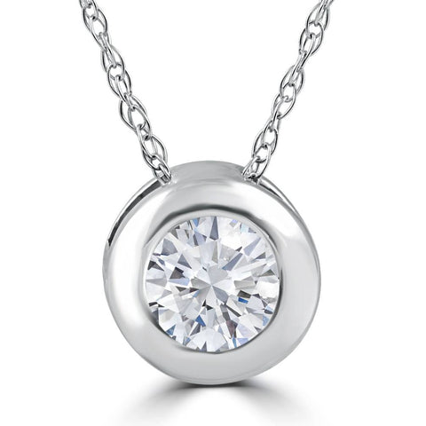 "3/8ct Solitaire Bezel Real Diamond Pendant 14k White Gold 18"" Chain"