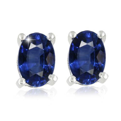 1 1/4CT Treat Oval Blue Sapphire Studs Solid 14K White Gold