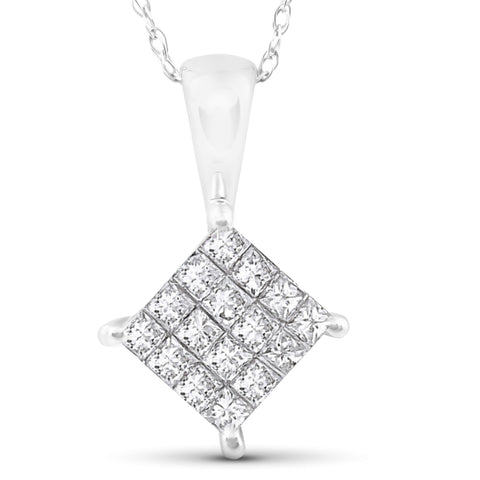 "1/2 cttw Princess Cut Pave Diamond Halo Pendant 10K White Gold 5/8"" Tall"