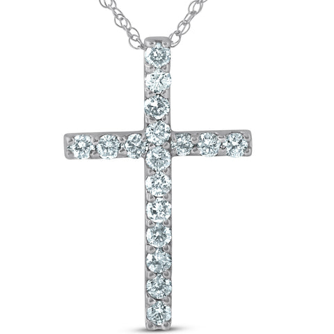 "1 Ct Diamond Cross 14k White Gold 18"" Chain Womens Necklace 1 1/4"" Tall"