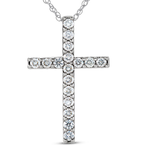 "VS .85 Ct Diamond Cross 14k White Gold 18"" Womens Necklace 1 1/4"" Tall Lab Grown"