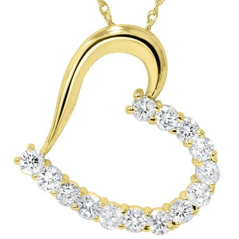 "1 1/20ct Diamond Heart Pendant 14K Yellow Gold 1"" Tall"