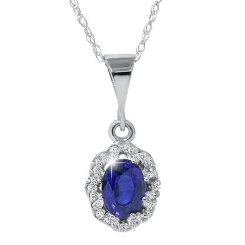 1 1/4ct Sapphire & Diamond Halo Pendant 14K White Gold