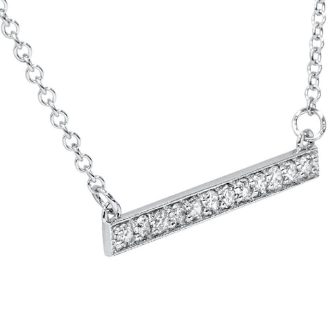 "1/2ct Bar Pendant Diamond Necklace in 14K White Gold 5/8"" Wide"