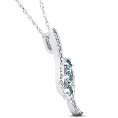 1/3ct 3-Stone Treated Blue Diamond Pendant 14 KT White Gold