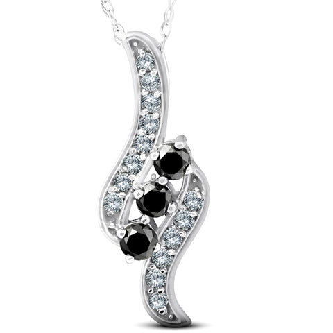 1/3Ct Treated Black & White Diamond 3-Stone Pendent 14K White Gold