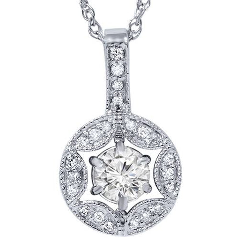 1/2ct Diamond Vintage Round Solitaire Pendant 14K White Gold