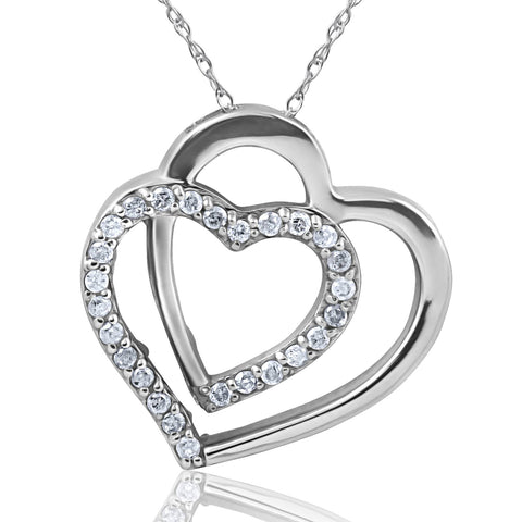 "1/4ct Diamond Heart Shape Pendant 10K White Gold 3/4"" Tall"