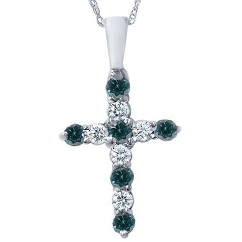 "1/2ct Blue & White Diamond Cross Pendant 14K White Gold W/ 18"" Chain"