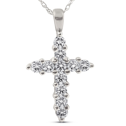 1/2ct Diamond 14K White Gold Cross Pendant Necklace