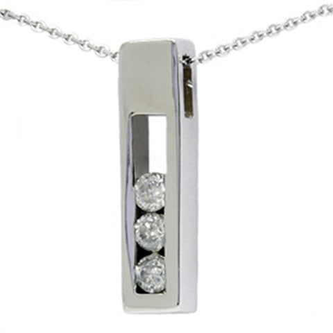1/2ct Three Stone Real Diamond Box Pendant White Gold